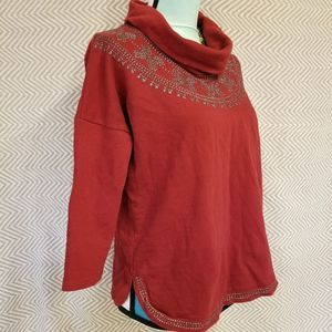 Lucky Brand Sweaters - Lucky Brand 3/4 Sleeve Cowlneck Burgundy Sweater S